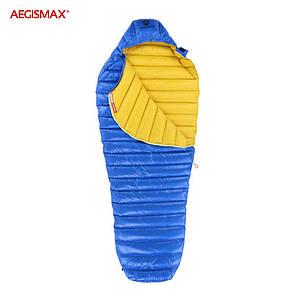 Пуховый спальный мешок aegismax LETO +7°C +2°C. Размер M 700FP Синий.