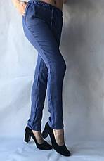 Летние женские брюки норма лен(коттон) 14 синий, фото 2
