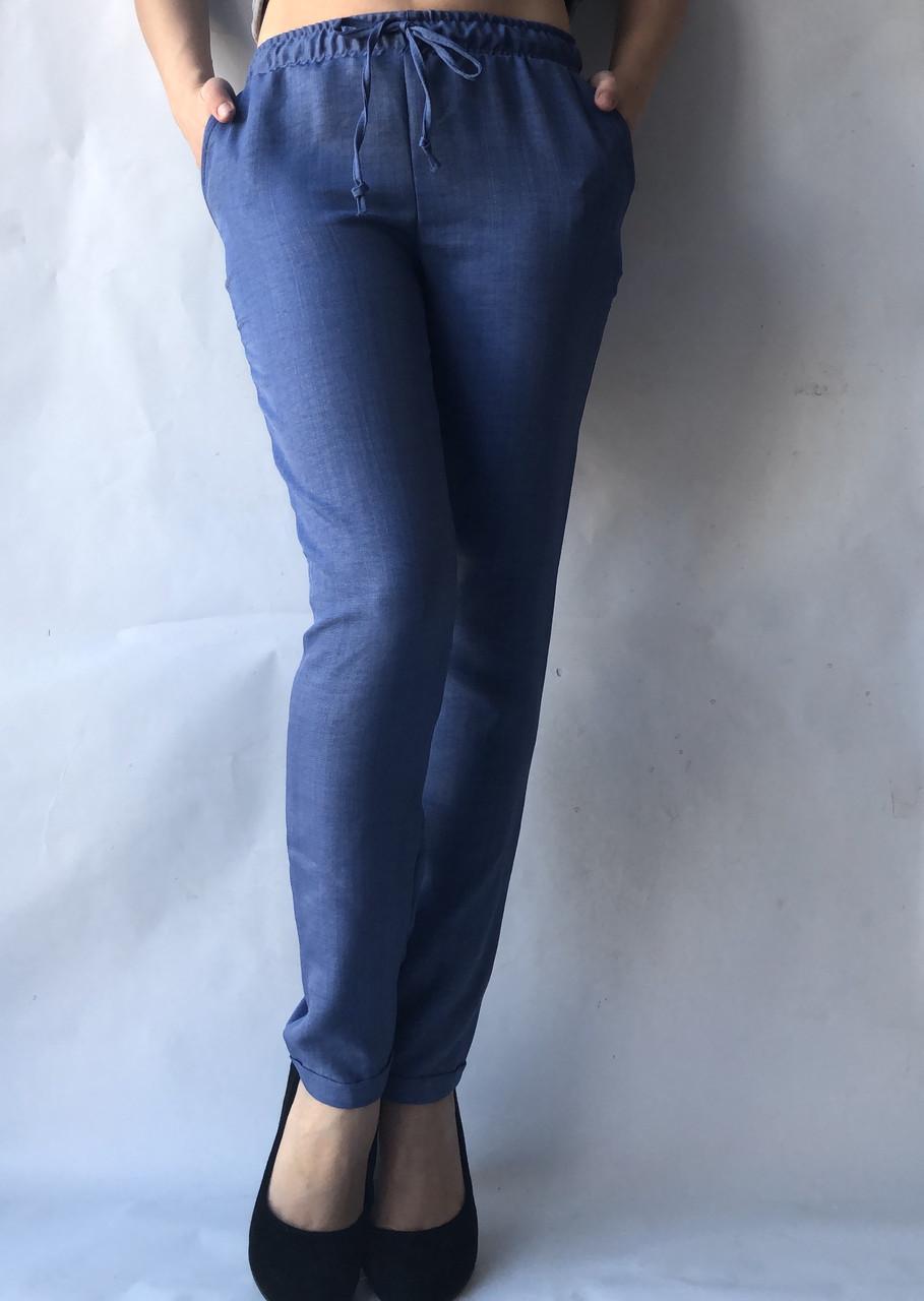 Летние женские брюки норма лен(коттон) 14 синий