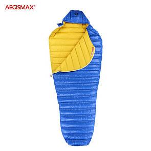 Пуховый спальный мешок aegismax LETO +7°C +2°C. Размер L 700FP Синий.