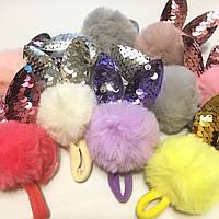 Резинка для волос детская с меховым шариком оптом 10 гр шт