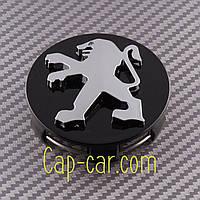 Колпачки, заглушки для литых дисков Peugeot. 542106. Черный с хромом (60мм)