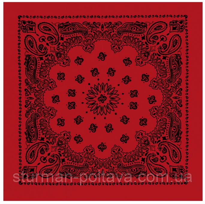 Бандана большая красная с  классическим черным рисунком  70х70 см