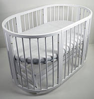Кроватка круглая  Babymax Каприз Бук, маятник, колеса, матрас, Белая