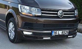 Губа юбка накладка передний бампер VW T6 c Led стиль 2
