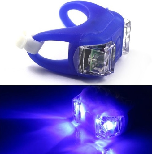 Силиконовый фонарик (мигалка) на велосипед 2 LED синий (синий свет)