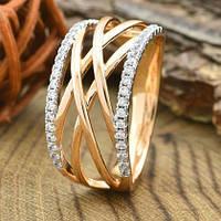 Кольцо Xuping Jewelry размер 19 Лада медицинское золото позолота 18К + родий А/В 5493