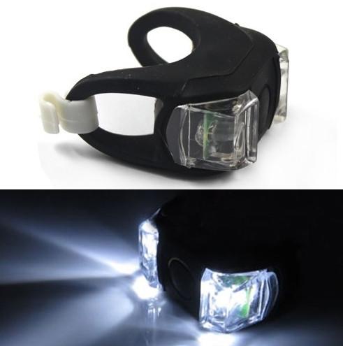 Силиконовый фонарик (мигалка) на велосипед 2 LED черный (белый свет)