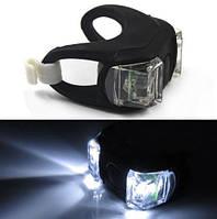 Силиконовый фонарик (мигалка) на велосипед 2 LED черный (белый свет), фото 1