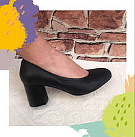 Женские классические туфли  Высокий каблук кожаные