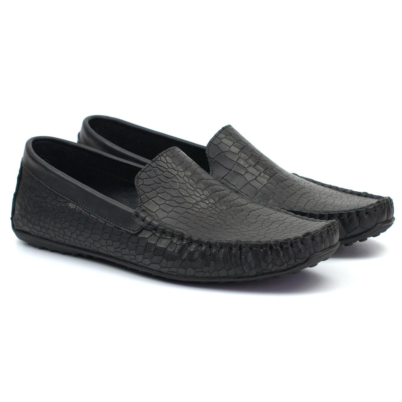 Кожаные черные мокасины имитация крокодила летняя мужская обувь Rosso Avangard M4 Mugger