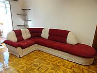 Угловой диван для большой гостиной перетяжка Днепр. Перетяжка мягкой мебели.