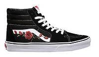 """Кеди Vans Old Skool SK-8 HI Roses """"Black White"""" - """"Чорні Білі"""" (Копія ААА+), фото 1"""