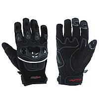 Перчатки Ткань Для Защиты Мотоцикла Костяшки Лето Сетка Ткань Ажурный Летний Черный XS