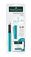Пір'яна ручка Grip 2010 M бірюзовий + чорнильний картридж Faber-Castell 201739