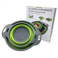 Дуршлаг силиконовый складной Collapsible filter baskets, фото 1