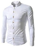 Рубашка мужская Белая с воротом стойкой