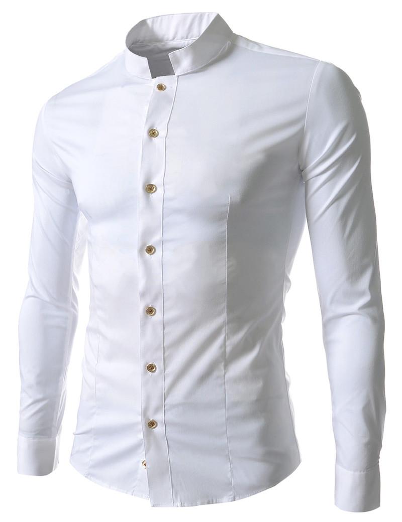 5fea05e35833f05 Рубашка мужская Белая с воротом стойкой - Интернет магазин