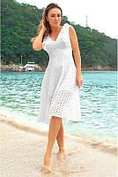Женское платье  миди  из прошвы   до 60 размера