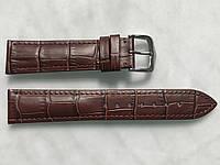 Ремешок для часов 20 мм из натуральной кожи, коричневый, текстура кожа крокодила, прошитый, мягкий