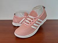 Жіночі кросівки літні рожеві пудрові на шнурках текстильні сітка (код 7796), фото 1