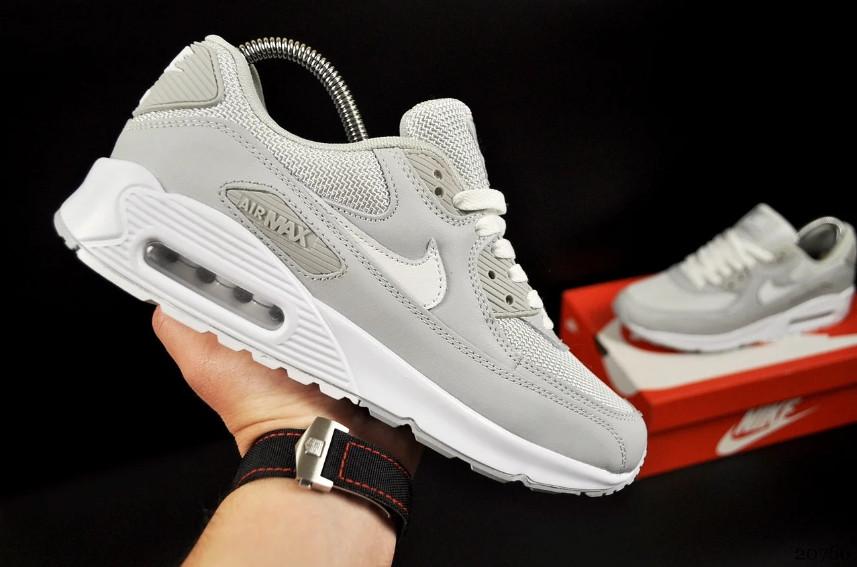 Кроссовки Nike Air Max 90 Gray White Серые мужские
