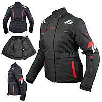 Женская куртка Мотоцикла Водонепроницаемый Ткани Защиты CE Путешествие, Красный