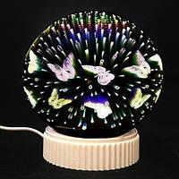 Светильник Магический шар 3D бесконечности с бабочками