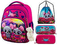 Рюкзак для девочки Winner розовый с мишками + пенал+ сумка для обуви 7004k