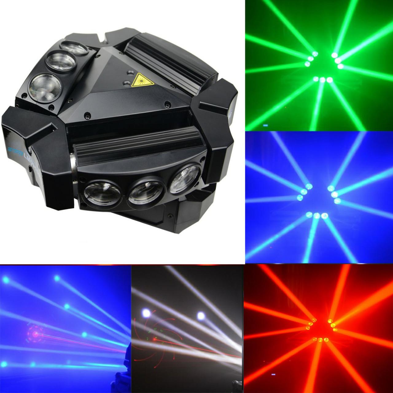 Светодиодный прибор 2в1 Spider moving head 9x10 RGBW laser RG