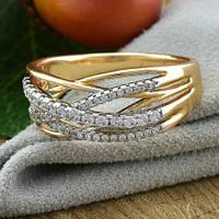 Кольцо Xuping Jewelry размер 20 Джоан медицинское золото позолота 18К + родий А/В 5499