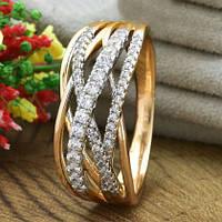 Кольцо Xuping Jewelry размер 20,5 Джоан медицинское золото позолота 18К + родий А/В 5500