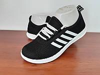 Жіночі кросівки літні чорні на шнурках текстильні сітка (код 7797), фото 1