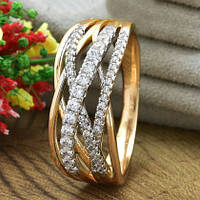 Кольцо Xuping Jewelry размер 21,5 Джоан медицинское золото позолота 18К + родий А/В 5501
