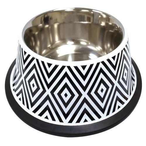 Миска для собак и кошек CROCI Twiggy Diamond, нержавейка с резиновым основанием 470 мл