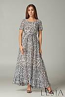 Стильное летнее шифоновое макси платье серое с оборкой Lesya Глосс