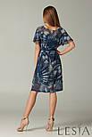 Женское летнее шифоновое платье синее в абстрактный принт с оборками по рукаву Lesya  Дивос, фото 3