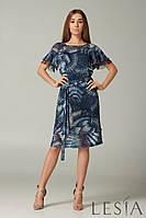 Женское летнее шифоновое платье синее в абстрактный принт с оборками по рукаву Lesya Дивос
