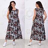 Платье длинное, летнее, свободного стиля штапельное, 2 цвета р.S(42-44), М( 46-48), L(50-52), XL (54-56) 006И, фото 2