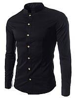 Черная рубашка мужская с воротом стойкой