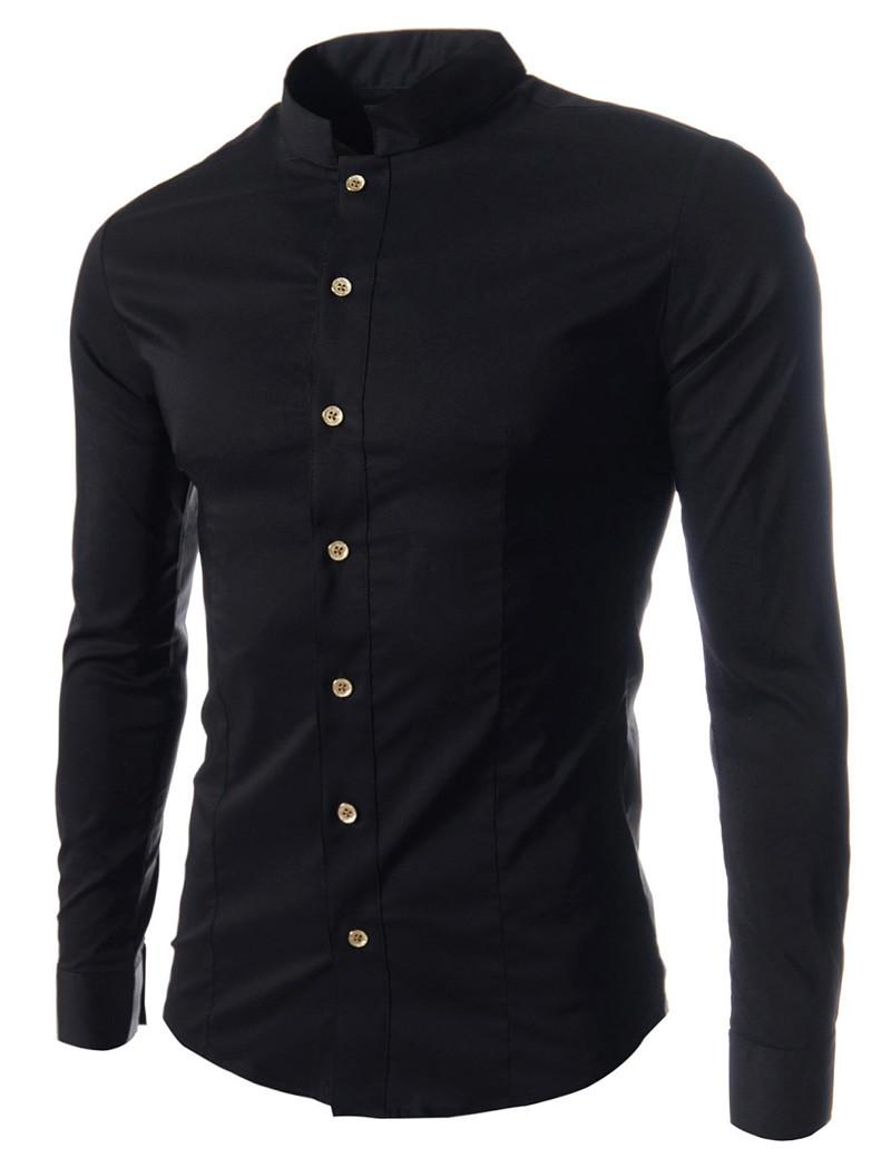 e7fc4074142 Черная рубашка мужская с воротом стойкой - Интернет магазин