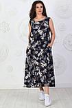 Платье длинное, летнее, свободного стиля штапельное, 2 цвета р.S(42-44), М( 46-48), L(50-52), XL (54-56) 006И, фото 3