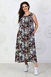 Платье длинное, летнее, свободного стиля штапельное, 2 цвета р.S(42-44), М( 46-48), L(50-52), XL (54-56) 006И, фото 7