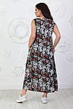 Платье длинное, летнее, свободного стиля штапельное, 2 цвета р.S(42-44), М( 46-48), L(50-52), XL (54-56) 006И, фото 9