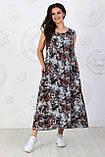 Платье длинное, летнее, свободного стиля штапельное, 2 цвета р.S(42-44), М( 46-48), L(50-52), XL (54-56) 006И, фото 6