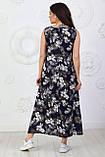 Платье длинное, летнее, свободного стиля штапельное, 2 цвета р.S(42-44), М( 46-48), L(50-52), XL (54-56) 006И, фото 5