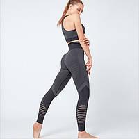 Спортивный костюм для фитнеса темно-серый (лосины+топ) S, M, L, фото 1