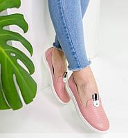 Летние кожаные женские туфли,розовые 36-40р