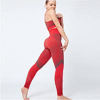 Спортивный костюм для фитнеса красный (лосины+топ) S, M, L, фото 1