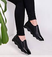 Летние черные кожаные женские спортивные туфли-кроссовки 36-41р